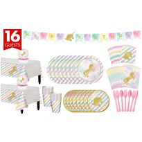 ONE STOP Unicorn Sparkle Complete Tableware Party Kit for 16 Guests Plates, Napkins, Cups, Table Cover, and Decorations Birthday Party Supplies]()