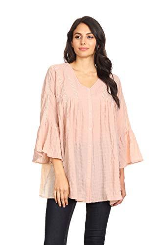 (Anna-Kaci Womens Woven Crochet Button Plisse 3/4 Bell Sleeve Peasant Top,Light Pink,Small)