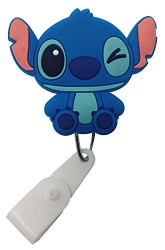 (Cartoon Retractable Badge Reel - Holder for ID and Name Tag with Belt Clip, IMPROVED REEL & STRAP (Stitch))