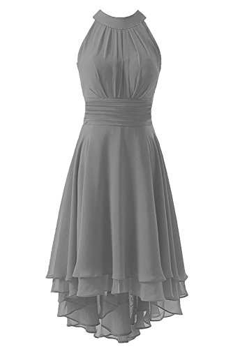 Kevins Bridal Women's High Low Short Bridesmaid Dresses Chiffon Halter Prom Dress Silver Size 10