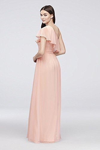 One EJ8M8683 Chiffon Shoulder Dress Silver Style Bridesmaid Flounce ZxFxYw
