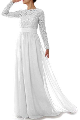 Kleid Linie eine Abendkleider Chiffon langen Braut HWAN mit Frauen Weiß Mutter Spitze rmeln der Pqn1C