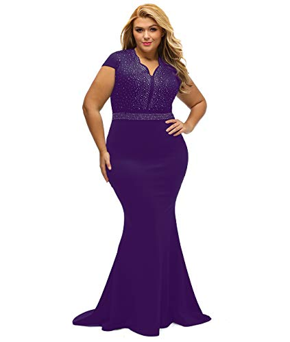 LALAGEN Women's Short Sleeve Rhinestone Plus Size Long Cocktail Evening Dress Purple XXXL (Best Evening Dresses For Plus Size)