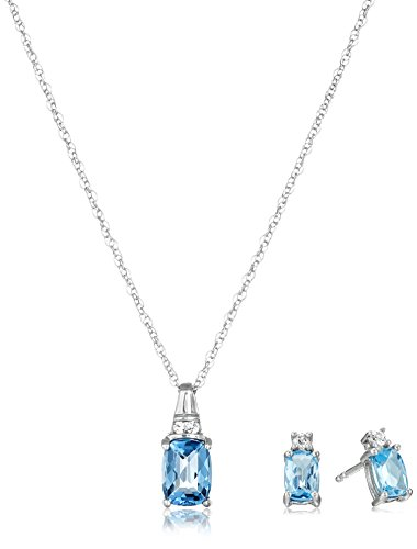 Sterling Silver Blue Topaz Cushion with Created White Sapphire Earrings and Pendant Necklace Box Set, 18