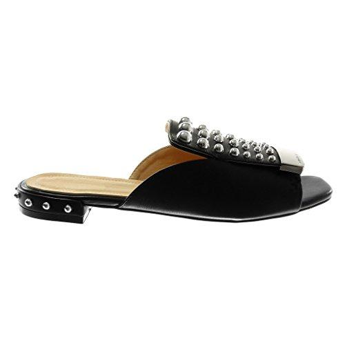 Métallique Clouté Femme Slip cm Noir Chaussure Bloc on Mode Angkorly 2 Sandale Talon Mule Perle nYqpwzgYR8