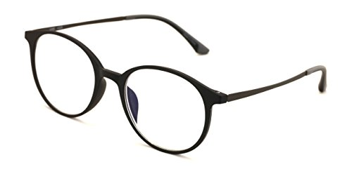 TR90 With Flexible Titanium B Temple Round Reading Glasses - Blue AR Coating - Reduce fatigue, strain, & dry eye from computer usage. (Matte Black, 1.00)