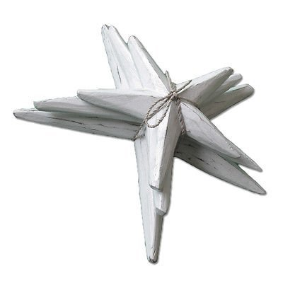 News of Three White Wash Wooden Starfish 14cm, 18cm, 22cm Hangable ()