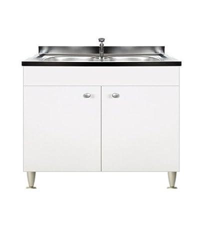 Mobile cucina 2 ante completo di lavello inox 80, 2 vasche componibile  sottolavello