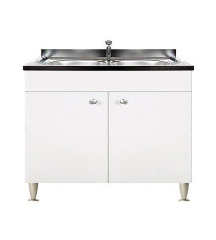 Mobile cucina 2 ante completo di lavello inox 80, 2 vasche ...