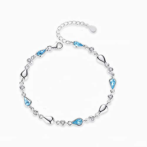 Drop Bangles It (YANGLAN S925 Silver Bracelet, Zircon Meteor Drop-Shaped Bracelet, Valentine's Day to Send Girlfriend)