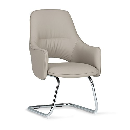 Simpli Home AXCOCHR-06 Prescott Swivel Adjustable Executive Computer C Spring Office Chair in Light Mist Grey Faux Leather