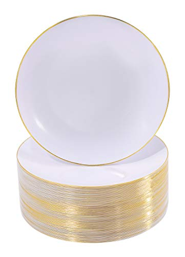 NERVURE 100Pieces White with Gold Rim Plastic Plates- 7.5inch Disposable Gold Salad/Dessert Plates-Ideal for Weddings& Parties (Party For Salads A Christmas)