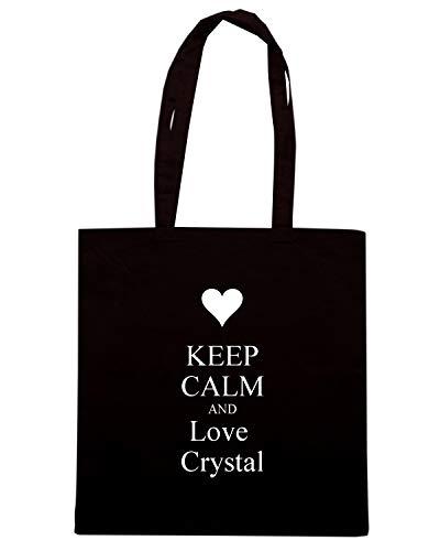 Shopper Borsa AND CALM KEEP TKC1629 CRYSTAL Nera LOVE RAHUqg4aA