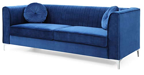 Glory Furniture Delray Sofa, Navy Blue. Living Room Furniture, 3 Seater - Velvet- soft velvet fabric adds style and comfort to this stunning collection. Chrome legs- Top Quality chrome that resists fading and tarnishing adds a modern touch to this already beautiful piece. Throw pillows- plush round pillows are included with every Glory Furniture Delray Item for extra comfort. - sofas-couches, living-room-furniture, living-room - 31iLbZl7khL -