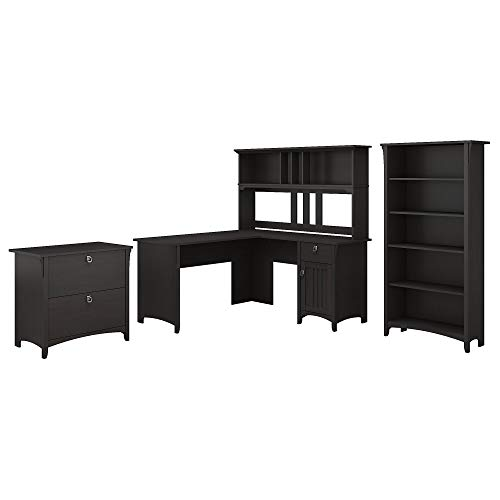 Bush Furniture Salinas 60W L Shaped Desk with Hutch, Lateral File Cabinet and 5 Shelf Bookcase in Vintage Black