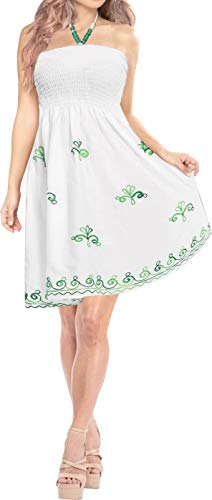 LA LEELA Rayon Solid Long Kimono Swimwear Womens Top White 2136 One Size