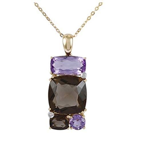 Aienid 9.27 Carat Diamond Amethyst Quartz 14K Yellow Gold Gemstone Necklace for Women 2.96G 16