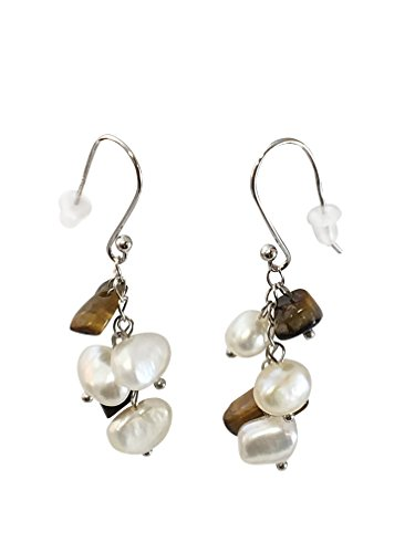 HinsonGayle Handpicked Freshwater Cultured Pearl & Tiger-Eye Dangle Earrings Sterling (Dangling Tigers Eye Necklace)
