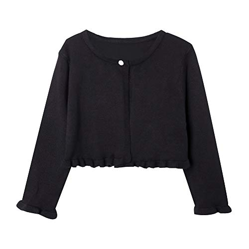 ZHUANNIAN Girls Knit Cardigan Shrug Ruffle Cropped Sweater Dressy Bolero Jacket (Black, 3-4t)