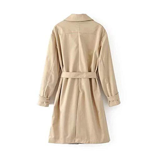 Longue Mode Survêtement Côté Rétro Femmes Gracieux Poches Trench Inclus Lapel Couleur Casual Coat Kaki Manteaux Veste Automne Manche Printemps Élégant Manteau Ceinture Pure 0Rww8q