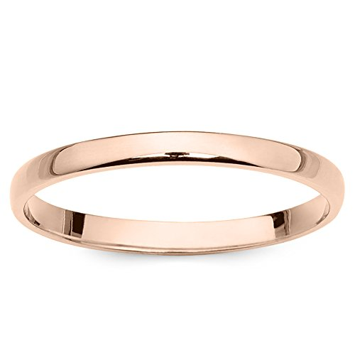 10k Rose Gold 2mm Light Comfort Fit Plain Wedding Band – Size 7