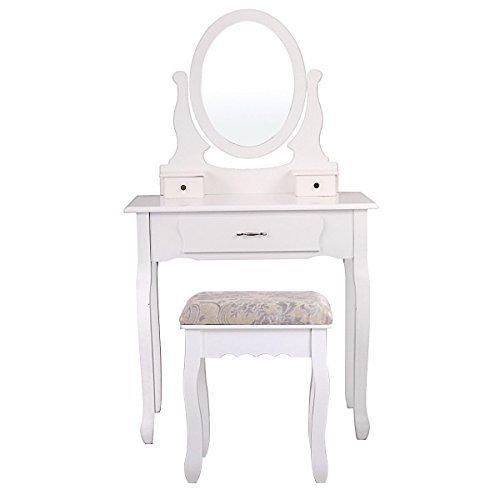Winmart Vanity Wood Makeup Dressing Table Stool Set Jewelry Desk bathroom with Drawer Mirror White by Winmart (Image #1)