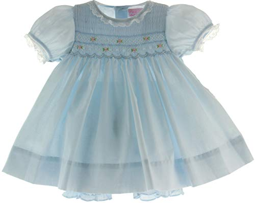 Petit Ami Newborn Girls Blue Dress Smocked Take Home Outfit with Bonnet ()