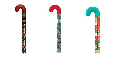 3 Plastic Filled Candy Canes Stocking Stuffers - Reese's Peanut Butter Cups, Hershey Kisses and Mini Snickers