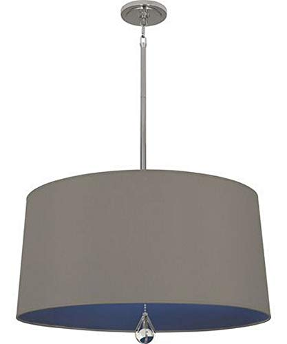 Robert Abbey WB329 Williamsburg Custis - Three Light Pendant, Polished Nickel Finish with Carter Gray Fabric/Ink Blue Lining Shade