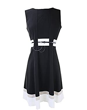 Women's Petite Fit-and-Flare Color-Block with Belted Waist