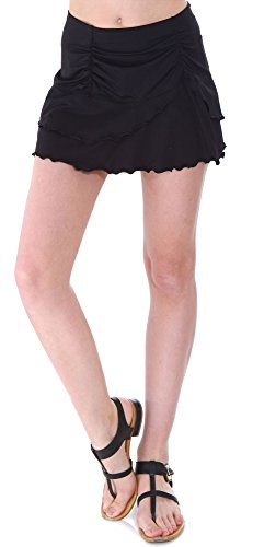 Bawdy Women's Summer Solid Colored Cover Up SkirtSwim Skirt, Black, XL