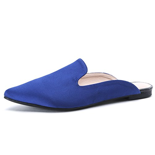 Women's Flat Mules Shoes with Pointed Toe Loafer Slip On Chic Shoes Ladies Comfy Summer Shoes Size UK3-7 Blue