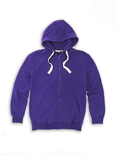 Tank Men's Lightweight Basic Zip Down Fleece Hoodie Jacket-14 Variety of Colors, Size S to 6XL Purple