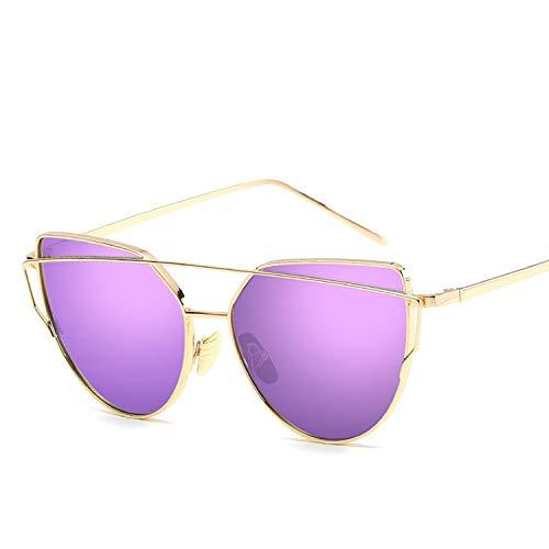 Cat Eye Sunglasses Women Mirror Lens Vintage Sun Glasses Rose Gold Metal UV400 ()