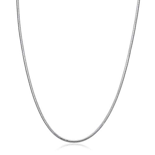 925 Sterling Silver Plated Snake Chain 1mm Round Jewelry Necklace 18-30 inch (16)