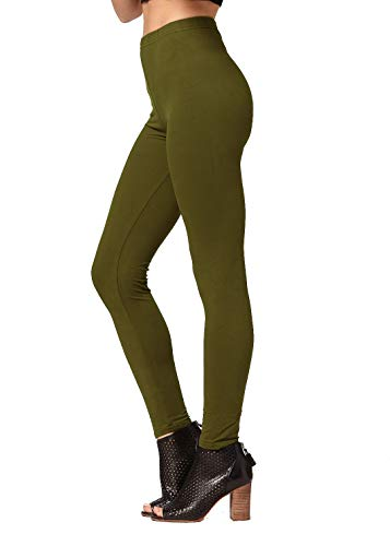 Conceited Super Soft High Waisted Women's Leggings - Opaque Full Ankle Length - Olive Green - One Size (0-10)