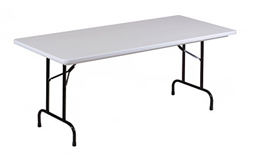 Correll RA3060-23 R Series, Adjustable Height Blow Molded Plastic Commercial Duty Folding Table, Rectangular, 30