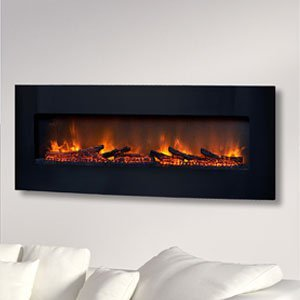 ClassicFlame 48-In Curved Black Wall Electric Fireplace 48HF201CGT