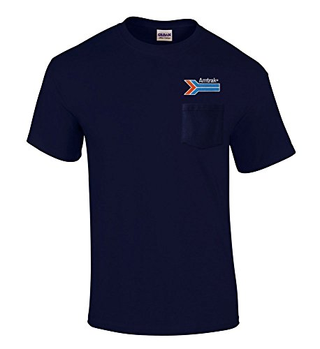 Amtrak Arrow Embroidered Pocket Tee Navy Adult 2XL [p221]