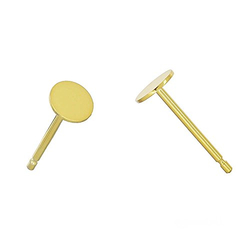 3 Pairs Sterling Silver Stud Post Earring with Glue on 4mm Flat Pad, 24kt Gold Plated