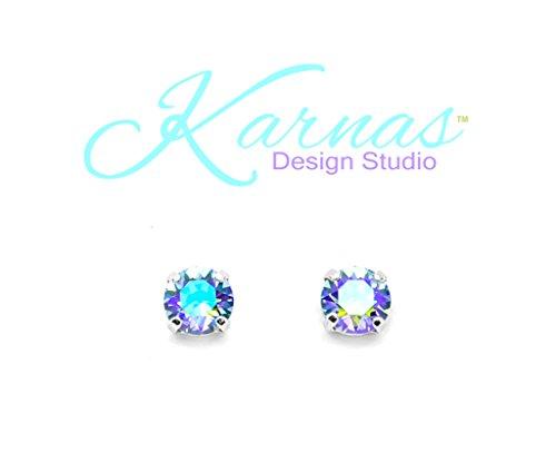 Blue Sapphire Doublet - SAPPHIRE GLACIER BLUE 8mm Earrings Made With Swarovski Crystal *Choose Finish & Style *Karnas Design Studio™