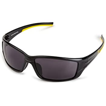3M Holmes Workwear Safety Eyewear, Black Frame, Yellow Accented Temples, Dark Lens,