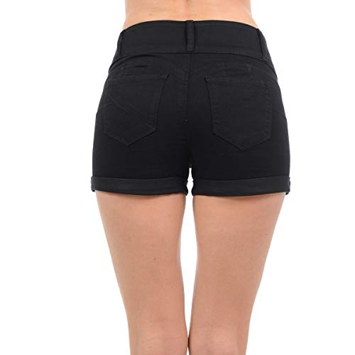 NioBe Clothing Women's Juniors Mid Rise Wax Jeans Push up Denim Shorts (Medium, Black) by NioBe Clothing (Image #1)