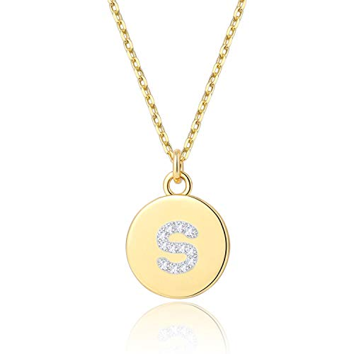 BOUTIQUELOVIN 14k Gold Plated Round Pendant S Initial Necklace Fashion Letter Jewelry for Women Girls