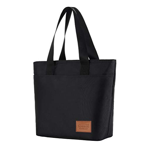Aosbos Lunch Bags for Women Insulated Food Tote Bag Cooler Box Adult Men Kids (Black)