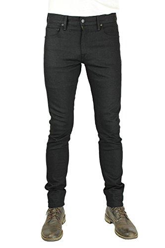 HIROSHI KATO Jeans Men's The Needle Skinny Raw Black 10.5 Oz 4-Way Stretch Selvedge Denim Skinny Fits Made In USA Raw Black 36 by HIROSHI KATO