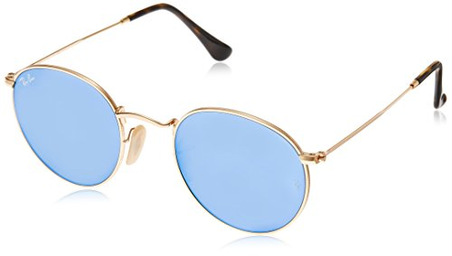 Ray-Ban Round Flat RB3447N 001/9O Non Polarized Sunglasses, Shiny Gold Frame/ Light Blue Flash Lenses, - Lenses Ban Sunglasses Ray Round