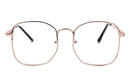 Nuni Wire Frame Nerd Bookworm Oversized Square Aviator Eyeglasses (rose - Aviator Plastic Eyeglasses