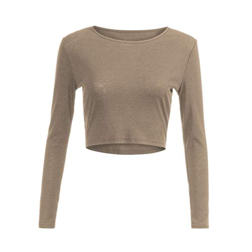 Beige femme shirt avec Taille encolure manche moulante Zhrui X couleur manche large T ou longue longue à 546nYqOXw