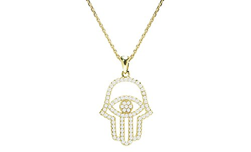 Sterling Silver Pendant Necklace with CZ Crystal Hamsa Hand Evil Eye Charm, 925 Silver (Gold)